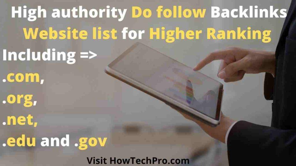 High Authority Dofollow backlinks list